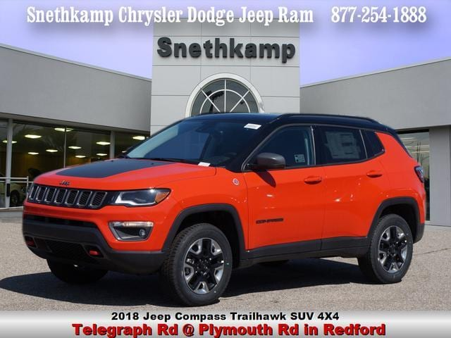 New 2018 Jeep Compass TRAILHAWK 4X4 spitfire orange exterior ruby redblack interior 0 miles Sto