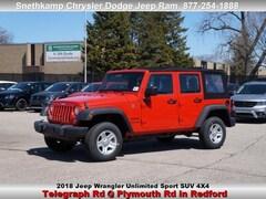 New 2018 Jeep Wrangler Unlimited WRANGLER JK UNLIMITED SPORT 4X4 Sport Utility in Redford, MI near Detroit