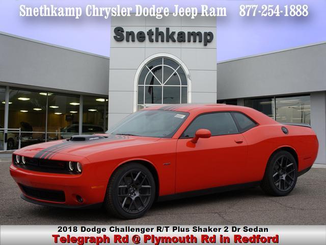 New 2018 Dodge Challenger RT PLUS SHAKER go mango exterior black interior 0 miles Stock JH2877