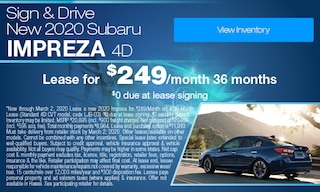 Sign & Drive - Lease a new 2020 Impreza for $249/Month