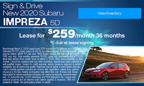 Sign & Drive - Lease a new 2020 Impreza for $259/Month,