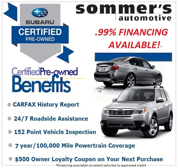 Subaru Certified Pre-Owned >> Benefits Of Subaru Certified Used Inventory At Sommer S