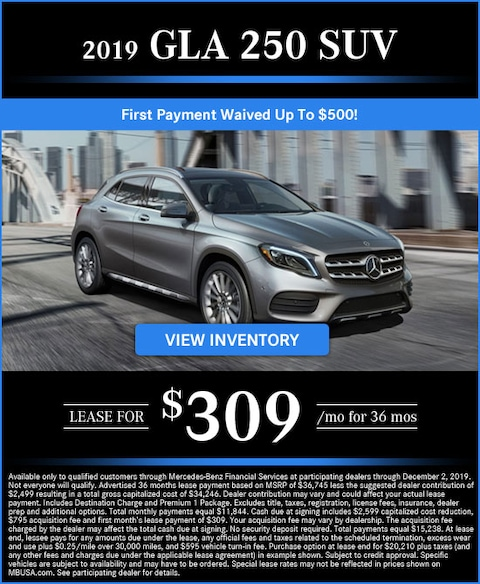 2019 GLA 250 Lease for $309/mo