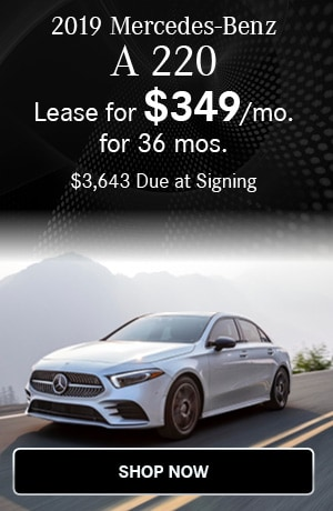 Lease $349/mo for 36 months $3643 due at signing on the 2019 A 220 Sedan
