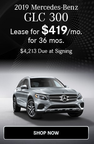 Lease $419/mo for 36 months $4213 due at signing on the 2019 GLC 300 SUV
