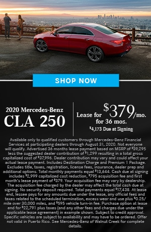 Lease $379/mo for 36 months $4173 due at signing on the 2020 CLA 250 Coupe