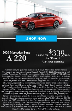 Lease $349/mo for 36 months $3643 due at signing on the 2020 A 220 Sedan