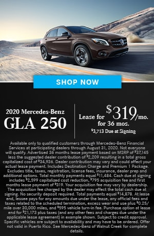 Lease $319/mo for 36 months $3713 due at signing on the 2020 GLA 250 SUV