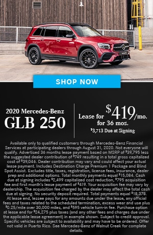 Lease $419/mo for 36 months $3713 due at signing on the 2020 GLB 250 SUV