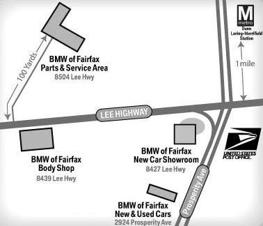 BMW of Fairfax Dealership and Service Center Map