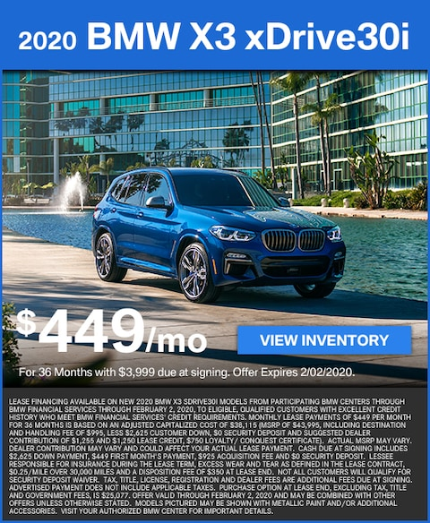 X3 sDrive30i Lease for $449/mo
