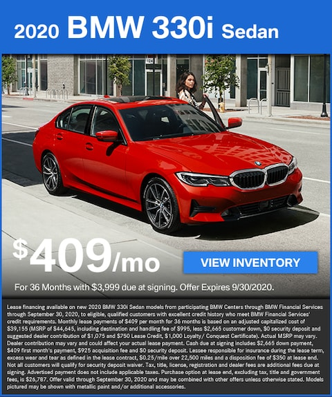 330i Lease for $409/mo with $3,999 due at signing