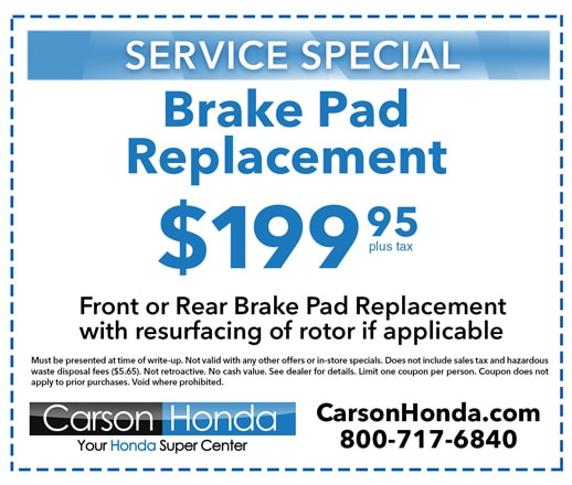 Carson honda service specials coupons in los angeles county for Honda brake service coupons