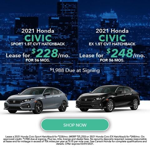 2021 Honda Civic Hatchback - Dual Offer