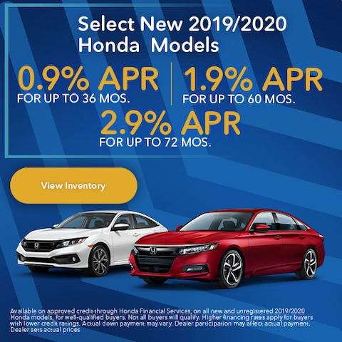 Select New 2019/2020 Honda Models
