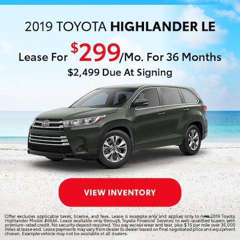 2019 Toyota Highlander LE - Lease