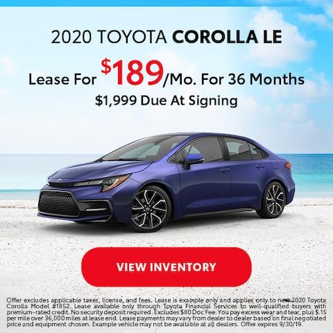 2020 Toyota Corolla LE - Lease