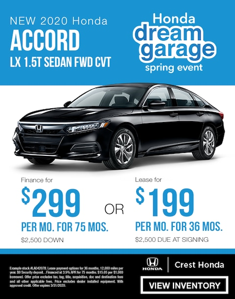 2020 Honda Accord Finance and Lease Specials