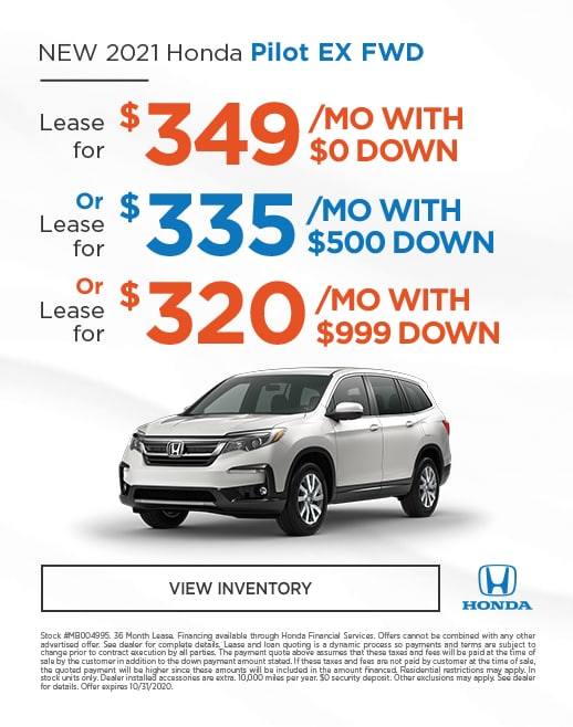 2020 Honda Pilot Lease and Purchase Specials
