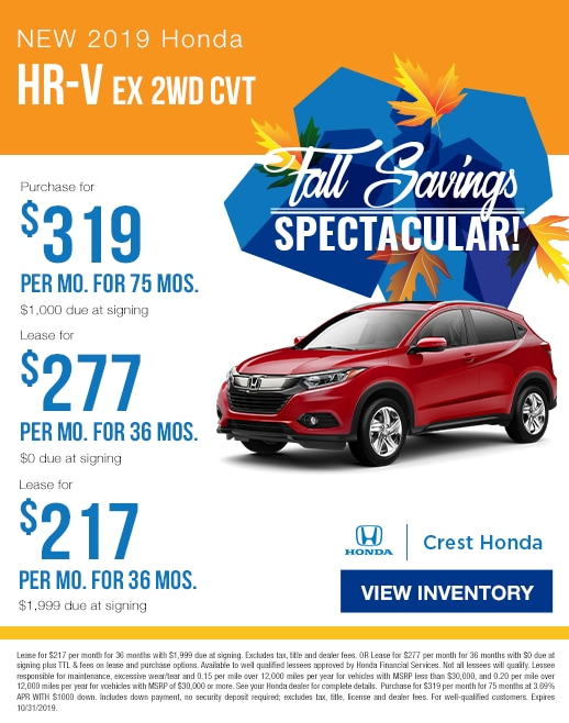 2019 Honda HR-V Lease & Purchase Specials
