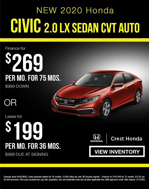 2020 Honda Civic Lease and Finance Specials