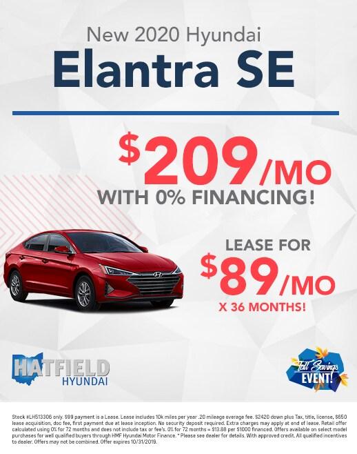 2020 Hyundai Elantra Lease & Purchase Specials