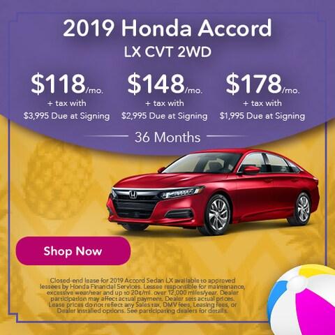 2019 Honda Accord LX CVT 2WD - Lease