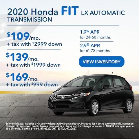 2020 Honda Fit LX Automatic Transmission