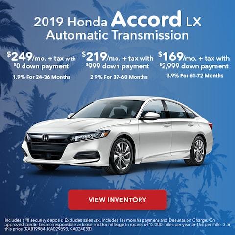 2019 Honda Accord - Lease