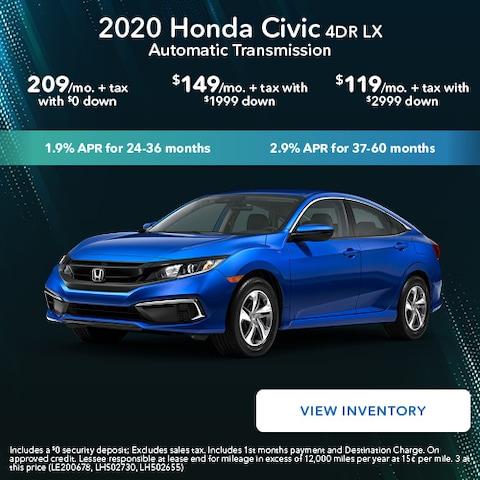 2020 Honda Civic 4DR LX Automatic Transmission