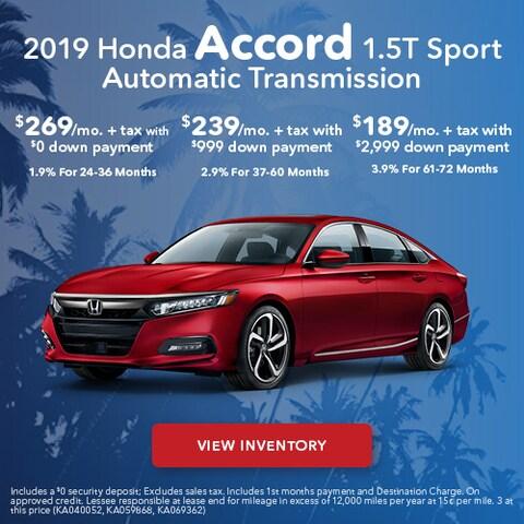 2019 Honda Accord Sport - Lease