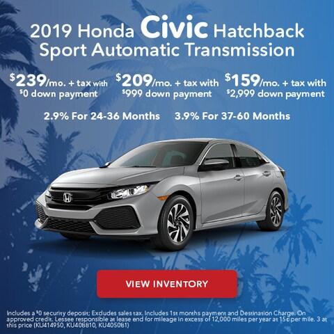2019 Honda Civic Hatchback - Lease