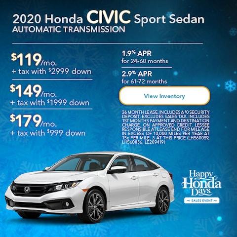 2020 Honda Civic Sport Sedan Automatic Transmission
