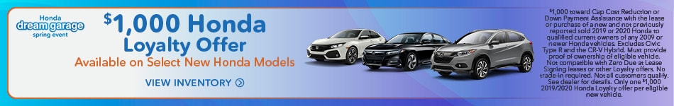 $1,000 Honda Loyalty Offer