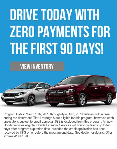 Drive today with zero payments for 90 days