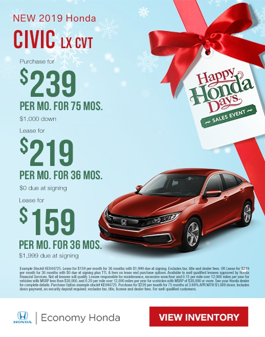 2019 Honda Civic Lease & Purchase Specials