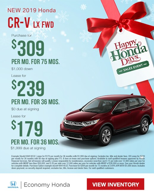 2019 Honda CR-V Purchase & Lease Specials