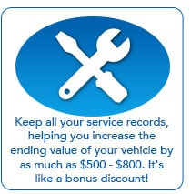 Keep all of your service records increasing the end value of your vehicle!
