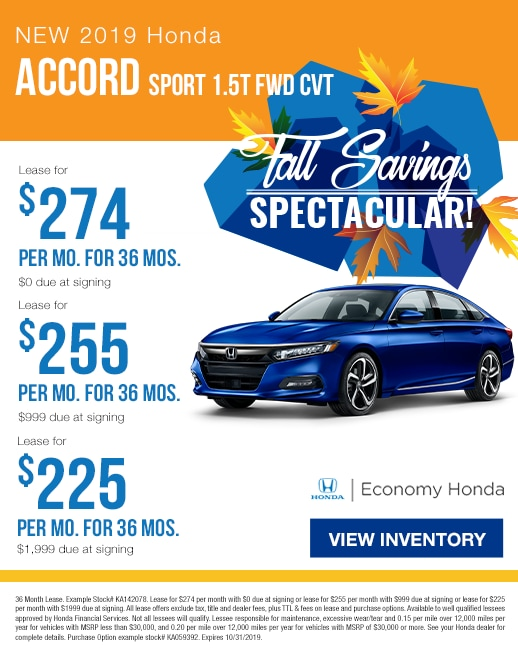 2019 Honda Accord Lease & Purchase Specials