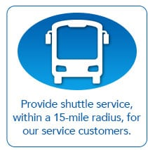 Provide shuttle service, within a 15 mile radius