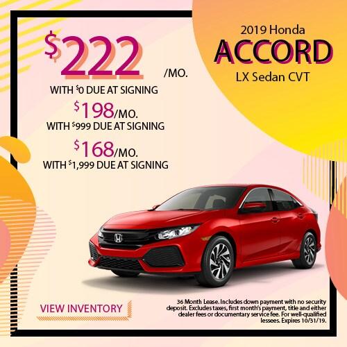 2019 Honda Accord LX - Lease