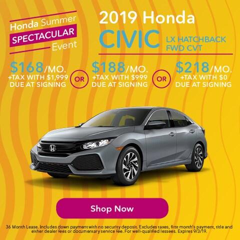 2019 Honda Civic LX Hatchback FWD CVT - Lease