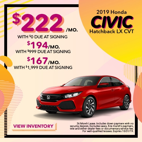 2019 Honda Civic Hatchback LX - Lease