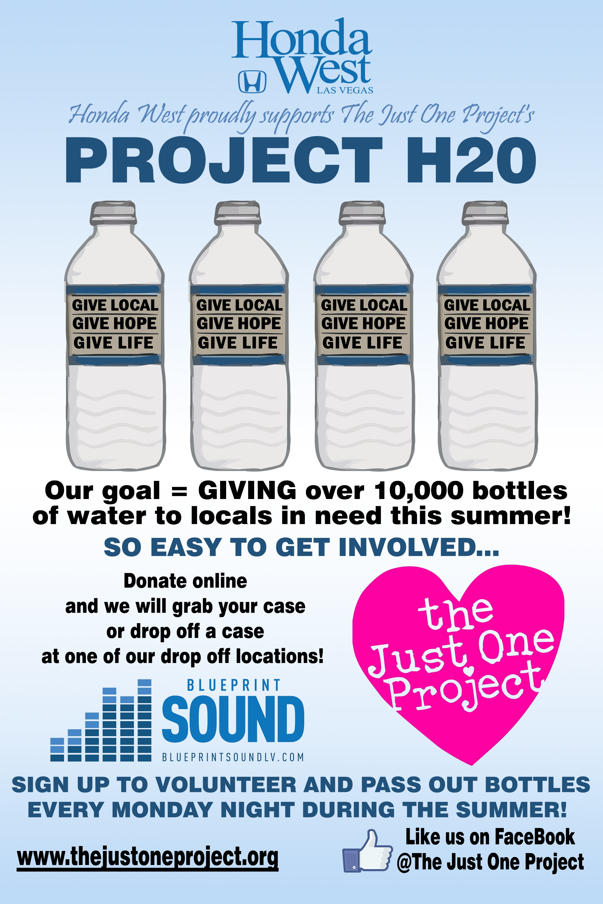 Honda West Is A Proud Sponsor Of Project H2O. Along With Donating A Pallet  Of Water, We Are Also A Drop Off Location. Please Drop Off A Case Of Water  At ...