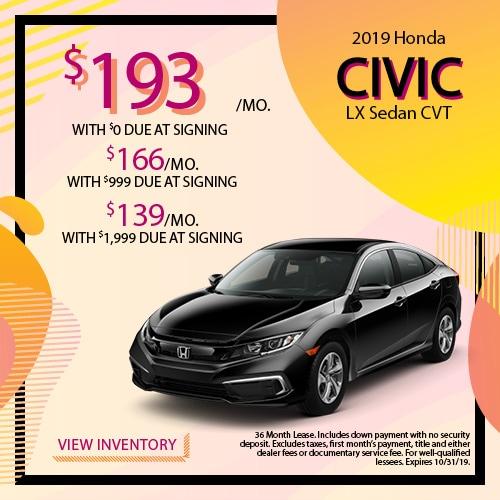 2019 Honda Civic LX Sedan - Lease