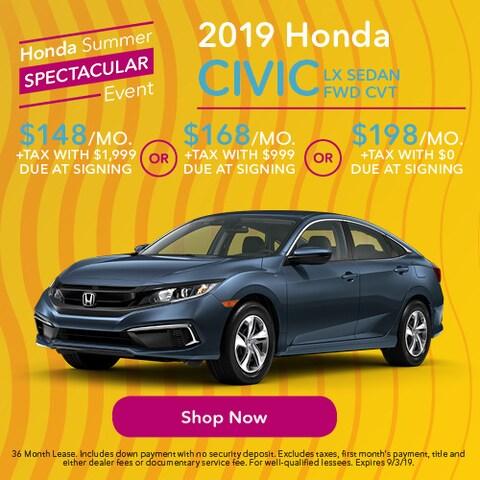 2019 Honda Civic LX Sedan FWD CVT - Lease