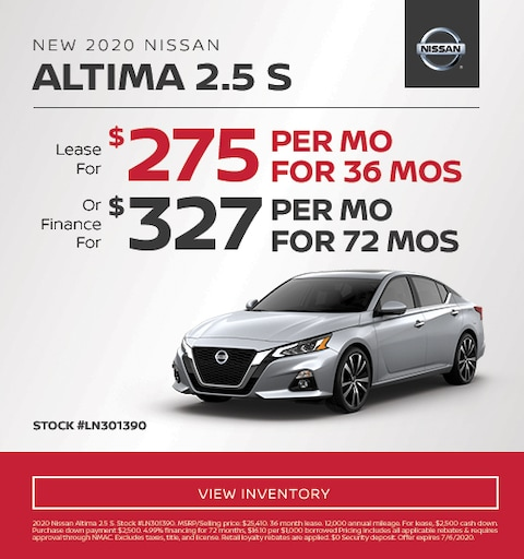 2020 Nissan Altima Lease and Finance Specials
