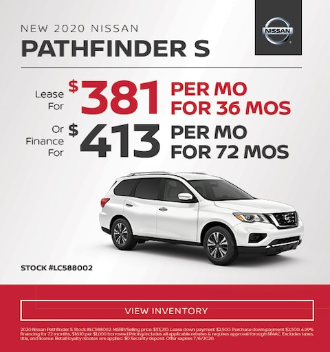 2020 Nissan Pathfinder Lease and Finance Specials