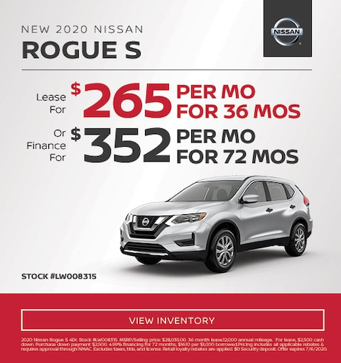 2020 Nissan Rogue S Lease and Finance Specials