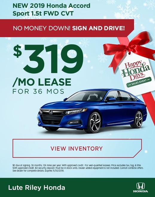 2019 Honda Accord Lease Specials